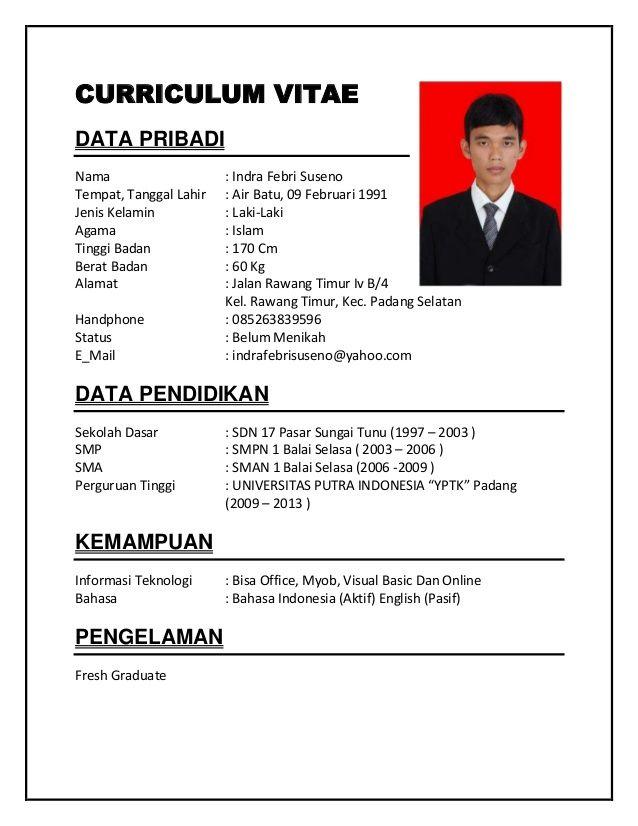Contoh Curriculum Vitae Bahasa Indonesia Pdf Riwayat Hidup Desain Resume Cv Kreatif