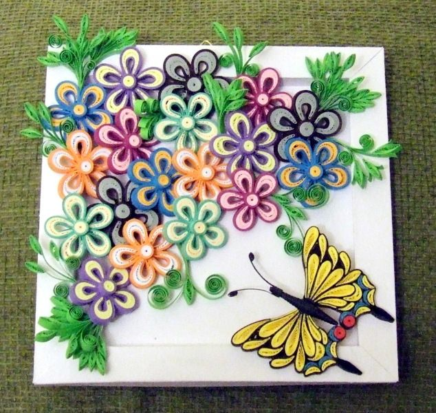 multiple quilled flower with tropical butterfly