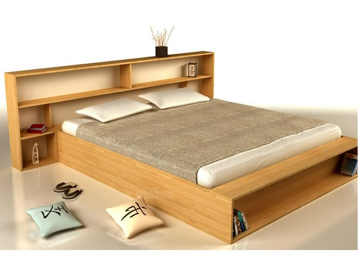 Wooden double bed with storage headboard SLIM by Cinius | design Fabio Fenili