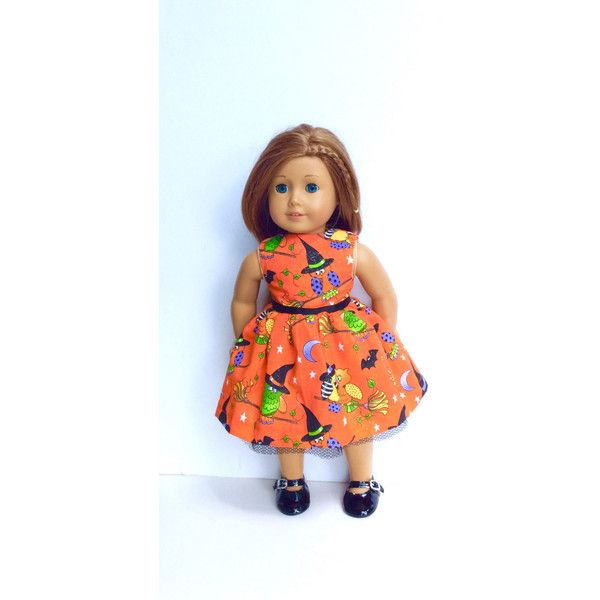 Halloween Doll Dress, 18 Inch Doll Clothes, Orange Doll Dress, Sparkly... ($20) ❤ liked on Polyvore featuring costumes, salem witch costume, witch costume, orange witch costume, doll costume and doll halloween costume