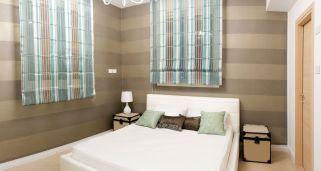 Dormitorio con líneas horizontales