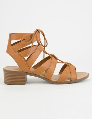 4a3c430aa45 CITY CLASSIFIED Strappy Lace Up Cognac Womens Sandals
