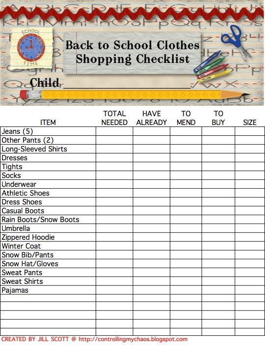 Controlling My Chaos: School Clothes Shopping Check List Saves the Day