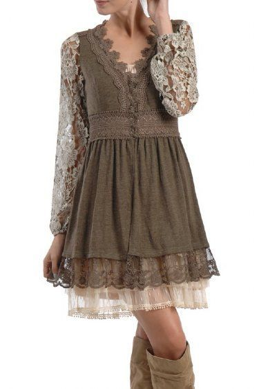 Women's Vintage Lace Sweater  - the under layer dress is a must with this one!: