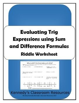 evaluating trig expressions with sum and difference formulas riddle worksheet. Black Bedroom Furniture Sets. Home Design Ideas