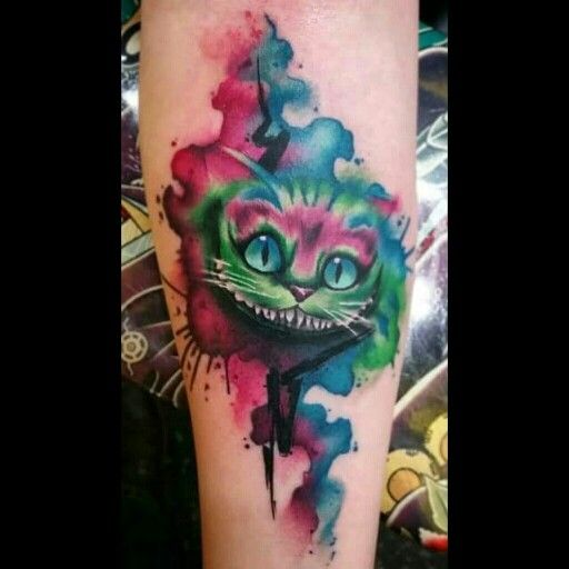 Tim Burton's Alice in Wonderland Cheshire Cat - Watercolor Tattoo by JJ at B'z Ink Tattoo Shop in Macomb Michigan!