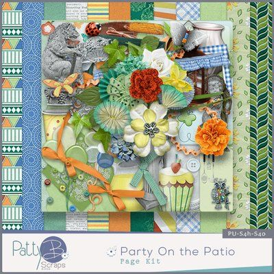 Party on the Patio by #PattyBScraps a great choice for your digital scrapbook layouts for your outdoor family photos. Filled with balloons, butterflies, buttons, flowers, foliage, pitcher, cups and cupcakes, and 12 papers.