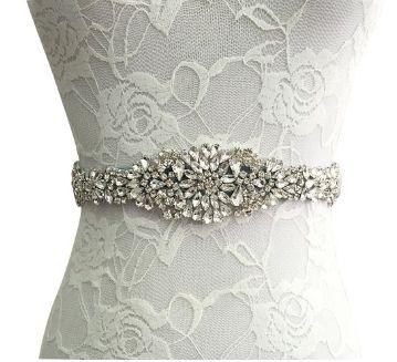 Formal Red Tie Bow Ribbon Sash Bride Wedding Fashion Bridal Rhinestone Belt