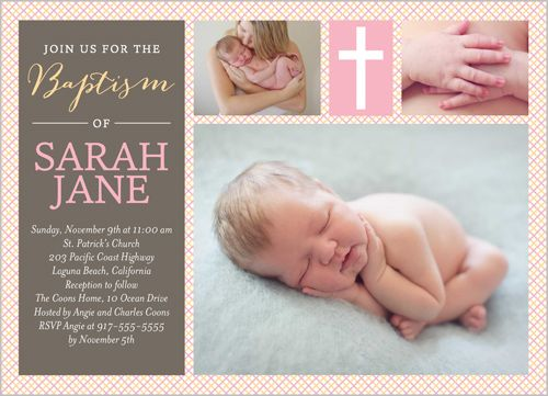 Our christening and baptismal invitations come in a variety of colors and designs, and you can choose the number of pictures you want on your baptism invitations.