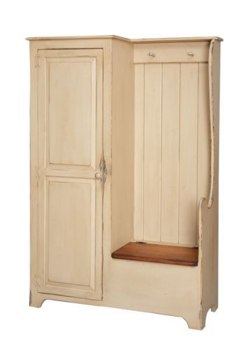 I want this soooooooo bad! ....Primitive Settle Bench Entryway Storage Hall Armoire Farmhouse Country Coat Rack