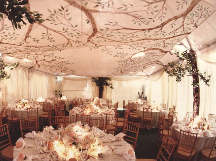 a screen printed overhang suspended from the sides and corners of either pipe and drape or a tent.  Cool way to compliment the branches hiding the tent poles.
