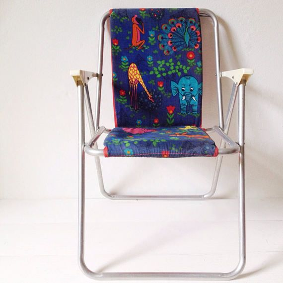 1970's camping chair for toddler rare foldable padded