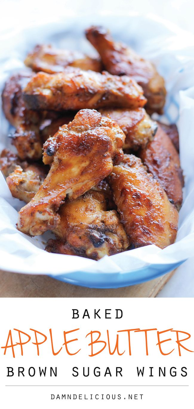 Baked Apple Butter Brown Sugar Wings - Baked brown sugar crusted wings sweetened with apple butter and finished with a Sriracha cream drizzle for a spicy kick!