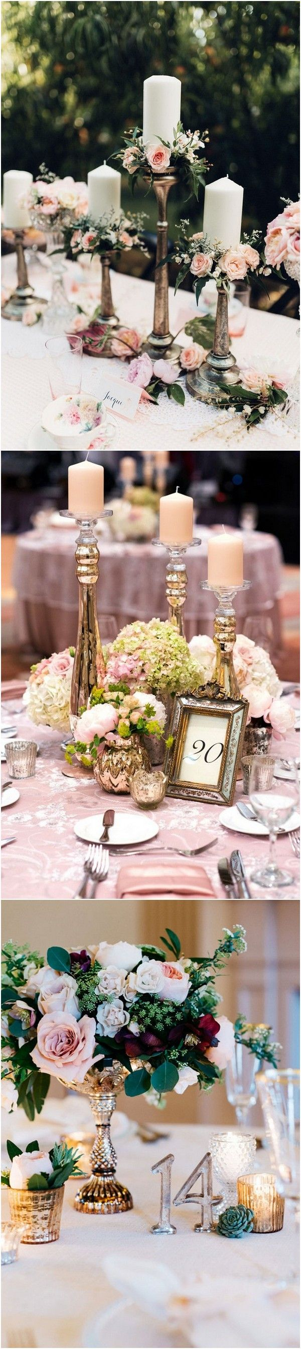 candle sticks inspired vintage wedding centerpieces