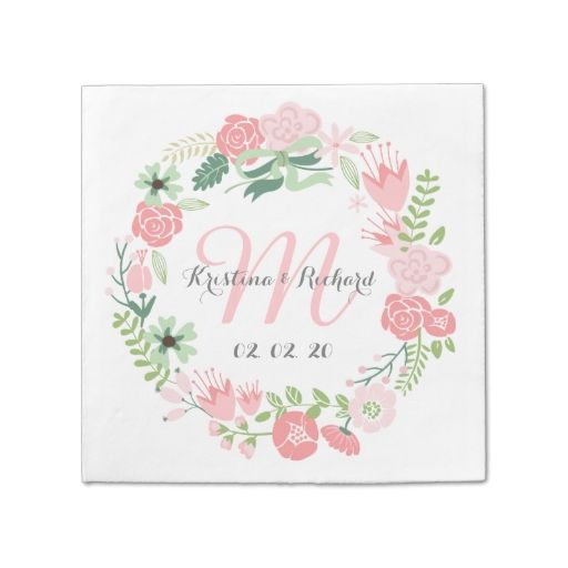 Floral Wreath Personalized Wedding Paper Napkins Standard Cocktail Napkin