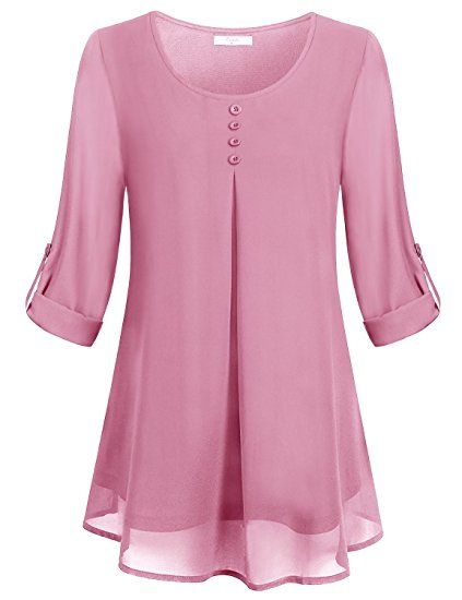 Cestyle Cuffed Sleeve Blouse Womens Vintage Round Neck Dressy Shirts