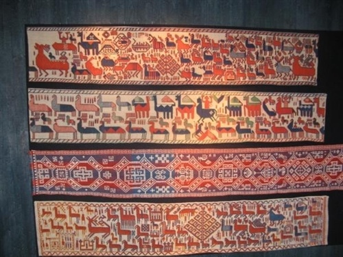 Copies of the Överhogdal tapestries at Överhogdals Forngård. The originals are kept at Jamtli, the county museum of Jämtland. The tapestries were made between 800 and 1100 AD, the Viking Age.