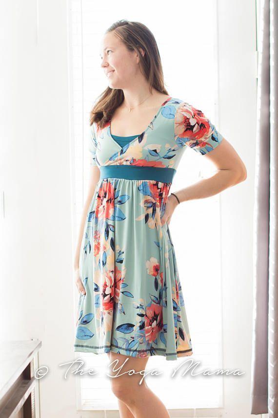Everyday Nursing Dress Built In Bra Cross Front Knee Length Postpartum Breastfeeding Comfy Teal F Nursing Dress Nursing Fashion Maternity Clothes