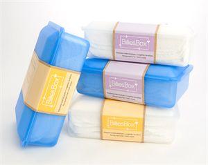 Complete set wasbare billendoekjes van BilliesBox met doos, doekjes en lotion.