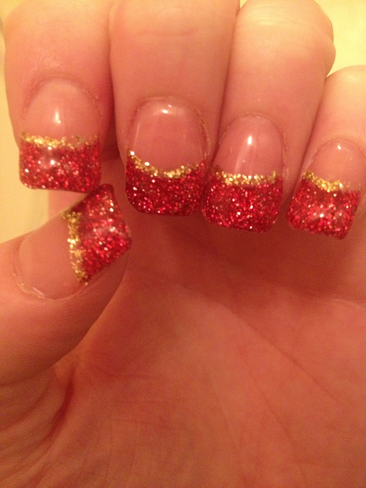 Niners Nails !!! #49ers #nails #red #gold #superbowl47