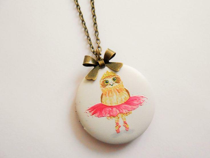 collier oiseau - collier porte photo - collier pendentif porte photo - collier médaillon photo - collier hibou - collier : Collier par esthete-bijoux