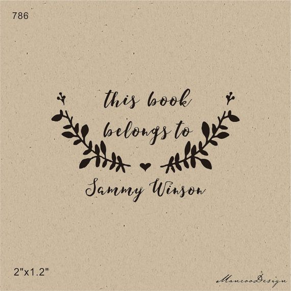 From the library of-Custom Stamp -This Book Belongs to - handmade Stamp…