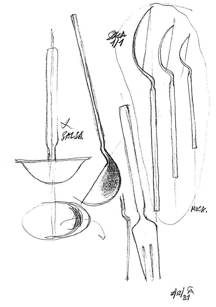 achille castiglioni  sketch for  u201edry u201c cutlery set  1982