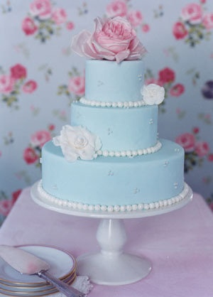 Baby blue and pink wedding cake. I love the iced beading around it <3