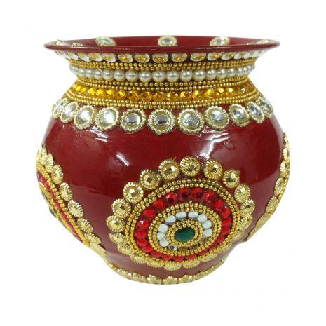 Decorative Copper Kalash Stone work