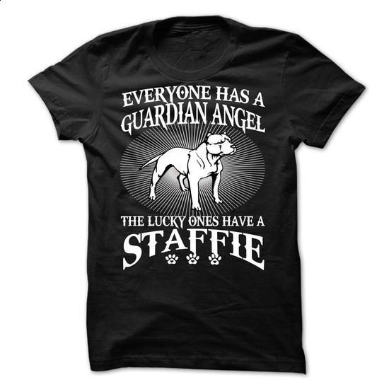 My Staffie Is a Guardian Angel - #funny shirts #t shirt printer. BUY NOW => https://www.sunfrog.com/Names/My-Staffie-Is-a-Guardian-Angel.html?60505