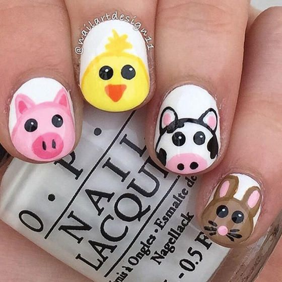 If you can't make it to a real party, these barn animals will have to do–your nails will be fashionably farm fête.