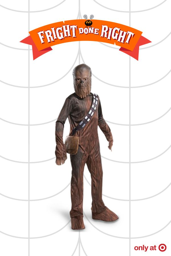 Get some laughs this Halloween with the Star Wars Chewbacca Boys' Deluxe Costume. Star Wars costumes are classic and Chewbacca is always favorite at Halloween. This costume comes with a mask and accessories to make the look complete. He'll need to practice his Chewbacca voice to really get a rise from the crowd. What a Wookie call that will be!