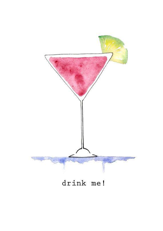 cocktail. drink me!. watercolor illustration print…