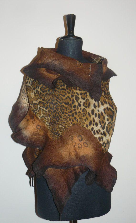 Nuno felted scarf Short scarf Felted scarf silk by Bozenasfelt, zł235.00