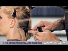 HOW TO CUT DIFFICULT HAIRLINES: COLLAPSE THE SHAPE OF YOUR BOB AND SHORT NECKLINES | Nape hairline interference! You know that hair is going to pop up or straight out from the head the minute you cut it, right? Wrong! Not if you know how to manage it! Learn more at: http://www.samvilla.com/blog/2013/08/how-to-cut-difficult-hairlines-collapse-the-shape-of-your-bob-and-short-necklines/