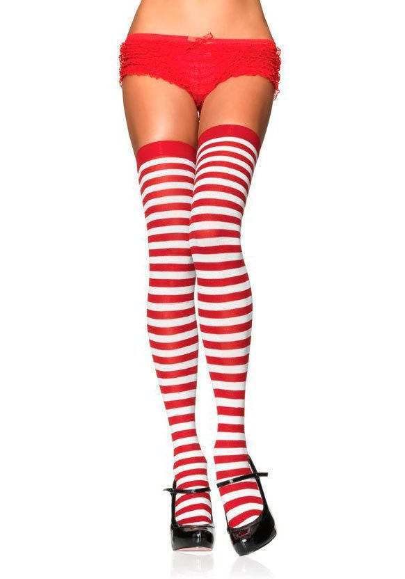 c55a453f82d Details about Red White Striped Long Socks Rugby Stripes Over-the-knee  Thigh High Sock