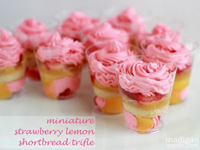 miniature strawberry and lemon desserts in shot glasses