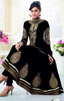 #Black embroidered georgette semi stitched #salwar with dupatta. #Valentine #Love #giftidea #gift #idea - http://bit.ly/1PTGf3C