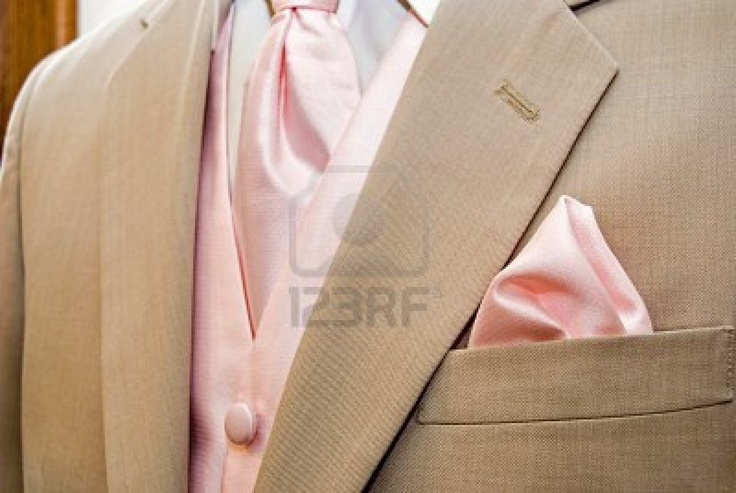 Pink accessories with light tan tuxedo