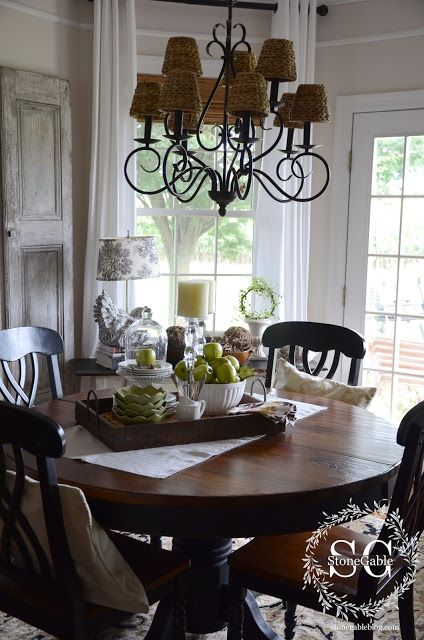 StoneGable: ALL ABOUT THE DETAILS KITCHEN HOME TOUR - black satin chandelier with rattan shades to put in entry or LR