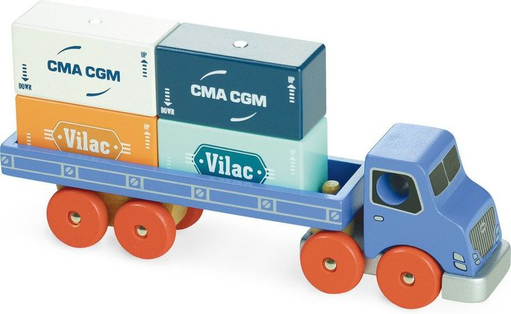 In vilacity you can be a truck driver or a crane operator at the same time! Thanks to this wooden container truck, you become a transport pro!
