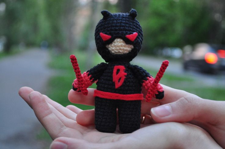 "Thanks for the kind words! ★★★★★ ""The little daredevil is amazing! Her work is amazing. The item was shipped quickly, it took awhile to get here but it came internationally so that is expected. Seller did an amazing job on the item and shipped it quickly!"" Kendra C. #daredevilcrochet #daredeviltoy #daredevil #red #christmas #birthday #black #toys #etsy #daredevilplush"