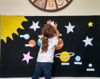 Montessori Activity: Solar System Felt Wall, Montessori Planet Learning Activity, Waldorf outer space, Home School, Preschool, Waldorf toy