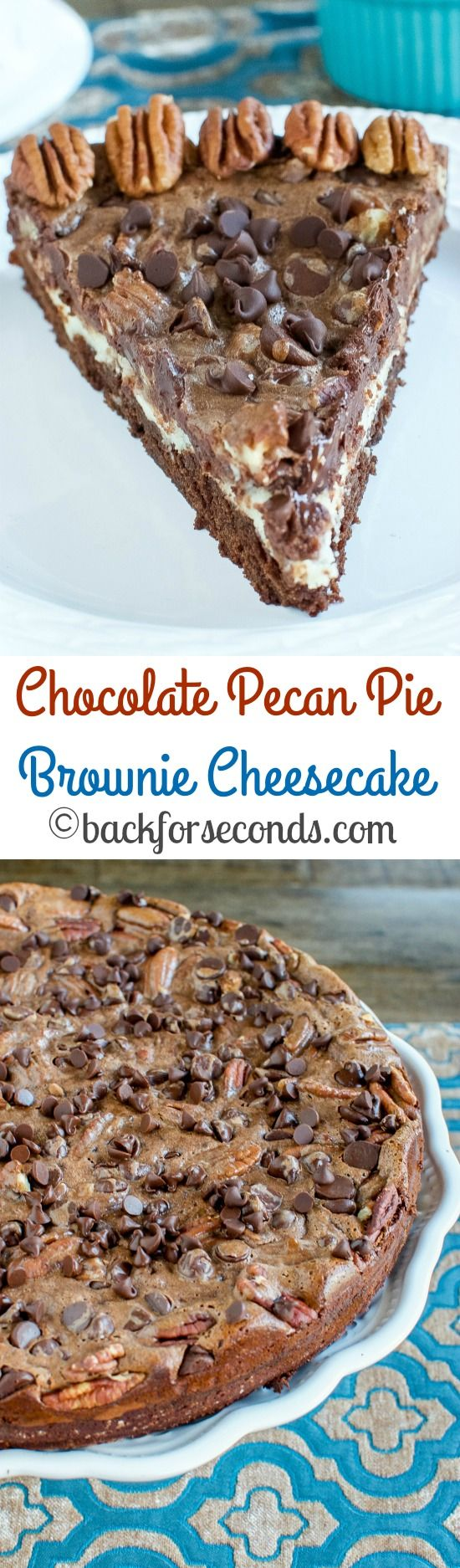 Easy Chocolate Pecan Pie Brownie Cheesecake