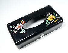 Vintage Ransburg Hand Painted Toleware Tissue Holder Dispenser Black with Floral