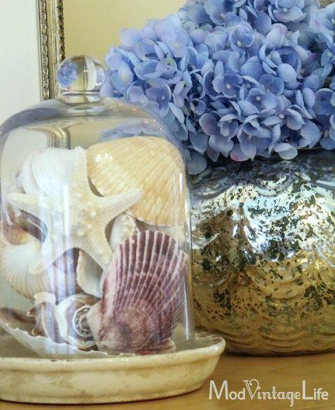 Glass Cloche Decor Ideas for Seashells: http://www.completely-coastal.com/2016/03/glass-cloche-decor-ideas.html
