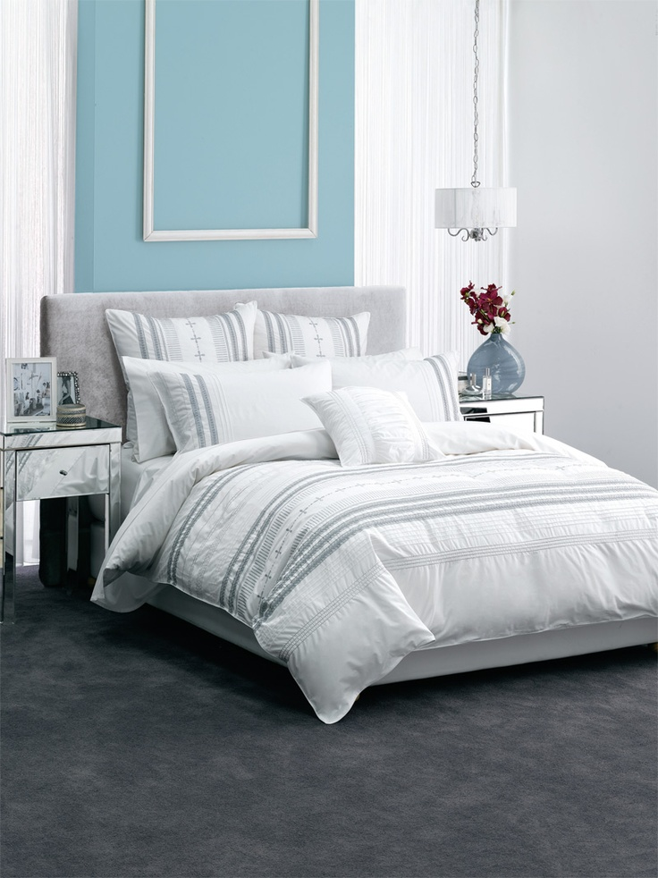 Sutherland Bed Linen Range - This stylish 250 thread count cotton percale will add glamour to any bedroom. Design features silver stitching, embroidery, braid trim, pin tucking and is finished with cord piping. Set includes a duvet cover with matching pillow cases