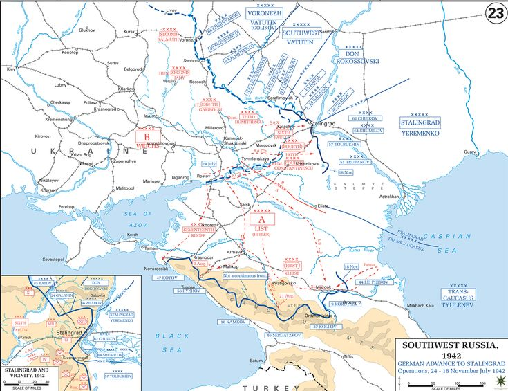 WWII - Russia 1942. Southwest Russia. German Advance to Stalingrad.
