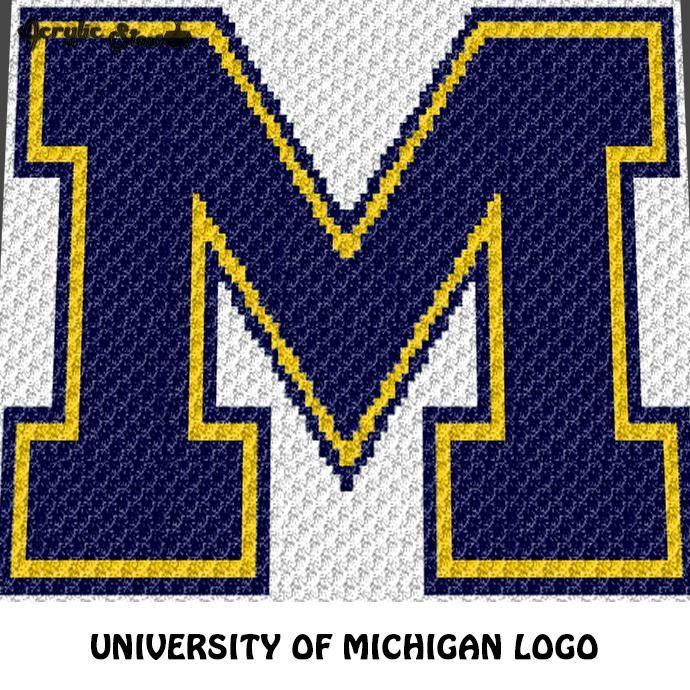 University Of Michigan Wolverines Letter Logo M Crochet Graphgan Blanket Pattern C2c Cross Stitch Graph Pdf Download Instant Download Cross Stitch Crochet Blanket Patterns Crochet Letters