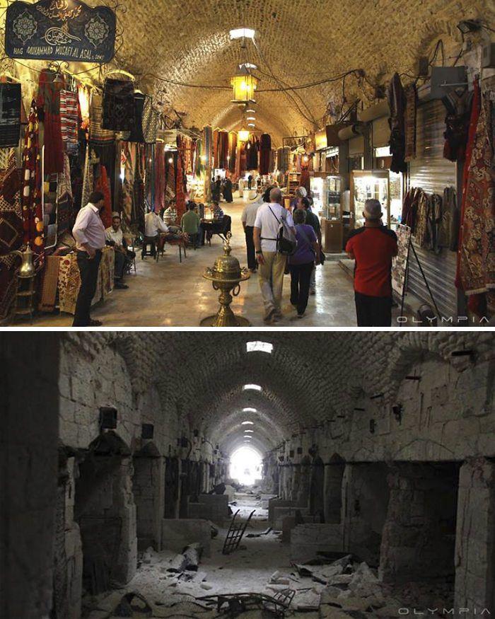 Des images impressionnantes de quartiers d'Alep comme ils étaient avant la guerre, et ce qu'ils sont devenus aujourd'hui. Le contraste est saisissant...